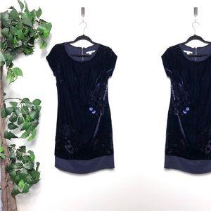 Boden Purple Velvet Sequin Silk Dress Size - 4